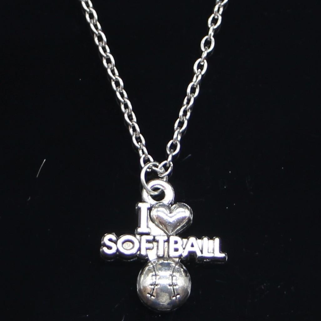 Nuevo collar de moda 21x19mm I love softball colgantes corto largo mujeres hombres collar regalo joyería gargantilla
