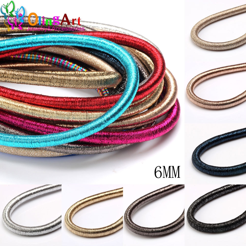 Free shipping 6mm 46cm Soft Rayon Silk Metal color Cord  Hollow Rubber DIY Necklace Bracelet Jewelry Making Findings Olingart fast shipping stunning 8rows 6mm round crude pink coral necklace g165