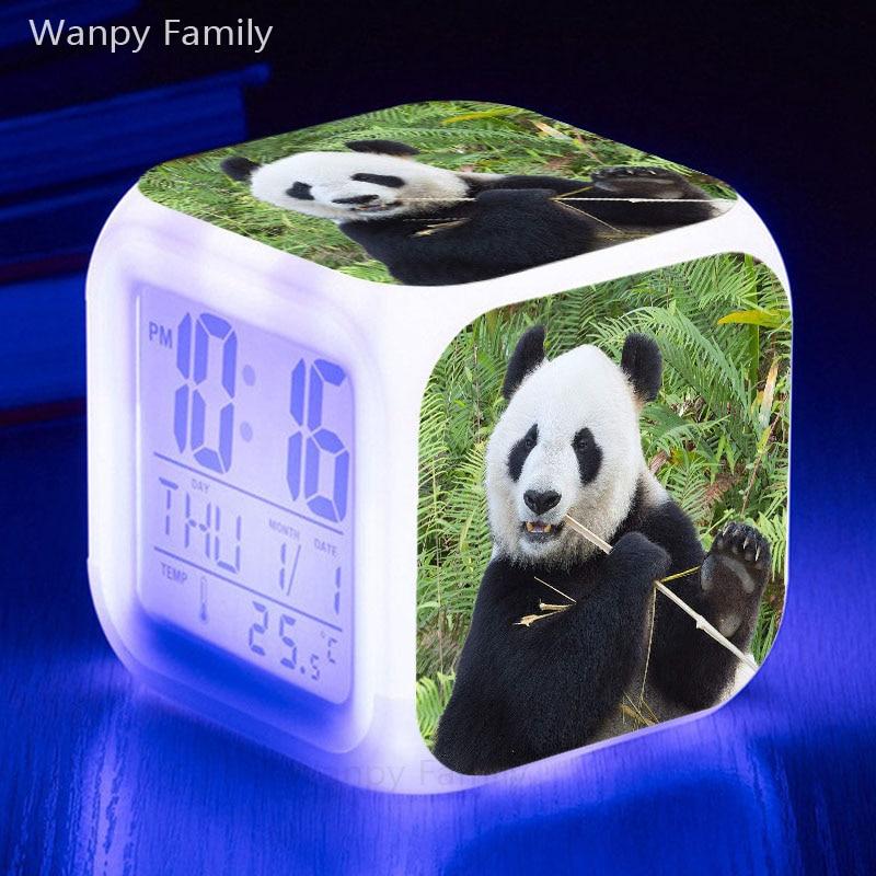 Very lovely Panda Alarm Clock 7 Color Glowing LED Big screen Displays Time date Multifunctio Touch Sensing Digital Clock