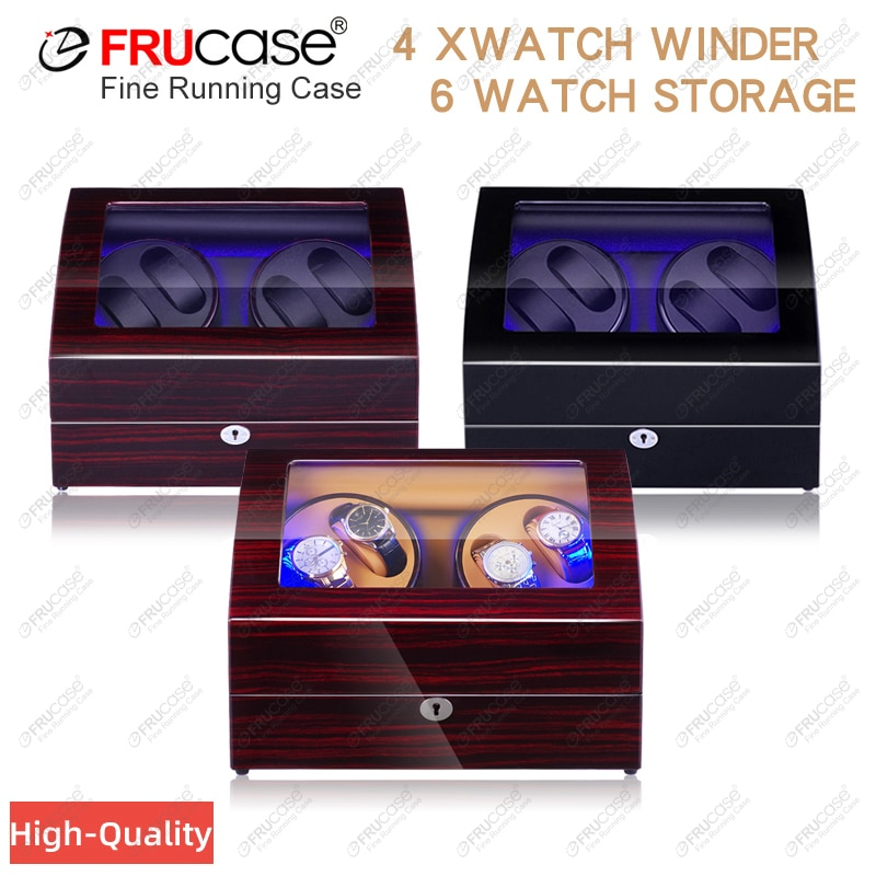 FRUCASE Watch Winder for Automatic Watches New Version 4+6 Wooden Watch Box Watches Storage Collecto