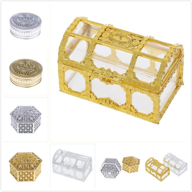 1 Uds boda Favor hueco hoja de oro caja de dulces en forma de torta de matrimonio bebé ducha regalo caja de embalaje suministros para eventos de fiesta