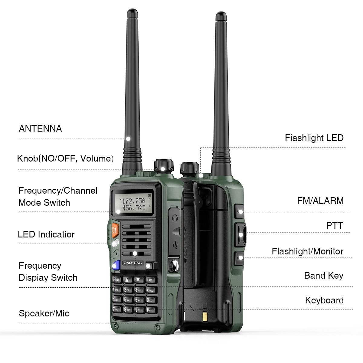 2021 New 2PCS BaoFeng UV-S9 Plus (136-174MHz VHF& 400-520MHz UHF) 10W Dual Band Two-Way Radio Original Support USB Charging Hunt enlarge