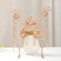 luxury fashion bride chinese style pearl tassel hairpin haircomb earrings set xiuhe clothing headdress hanfu accessories jewelry