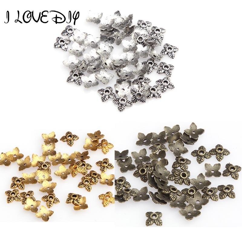 100 pçs folha de metal talão tampas de extremidade para fazer jóias ouro prata cor tom contas bonés diy acessórios suprimentos jóias atacado