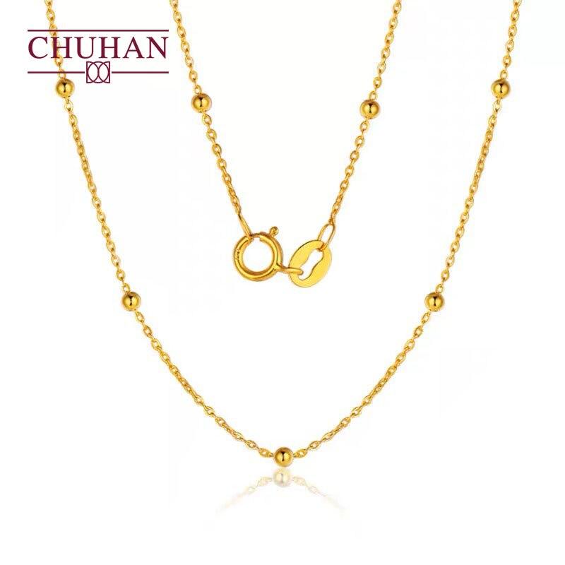CHUHAN 18k الذهب الكلاسيكية الغجر سوفيلا على شكل حرف O قلادة Au750 فلاش O سلسلة صغيرة الذهب حبة سلسلة قصيرة تصل إلى عظمة الترقوة الإناث حقيقية جريئة