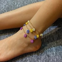 fashionable boho style sweet daisy flower glamour womens colorful seed handmade beads friendship golden anklet holiday jewelry