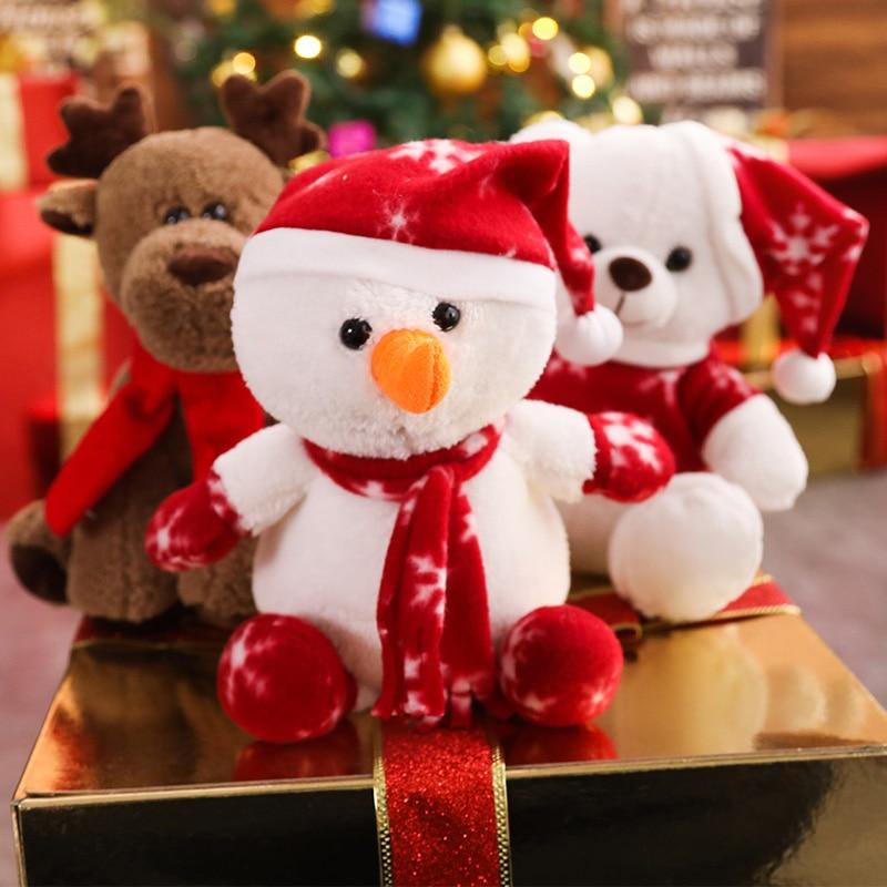 1pcs Christmas moose bear plush toy soft elk snowman doll  festival wapiti decoration lovely animal Christmas gift for children