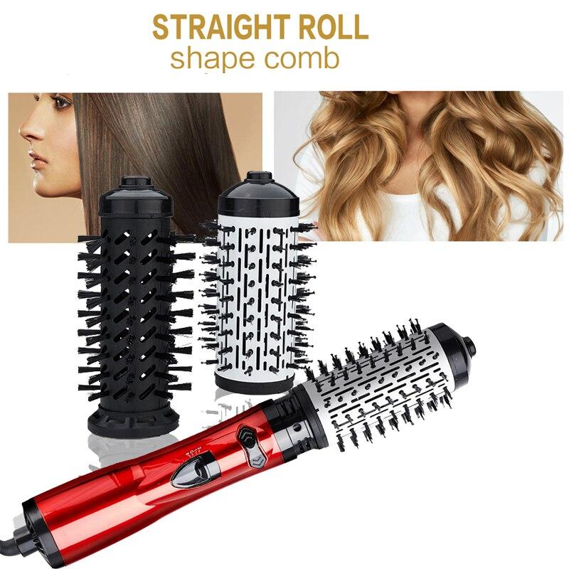 3 in 1 Rotating Electric Hair Straightener Brush Hair Curler Hair Dryer Brush Hot Air Comb Negative