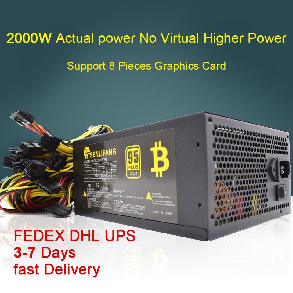 2000 واط 180-260 فولت ATX التعدين بيتكوين امدادات الطاقة 95% عالية الكفاءة ل Ethereum ETH S9 S7 L3 8GPU بطاقات دعم ماكس