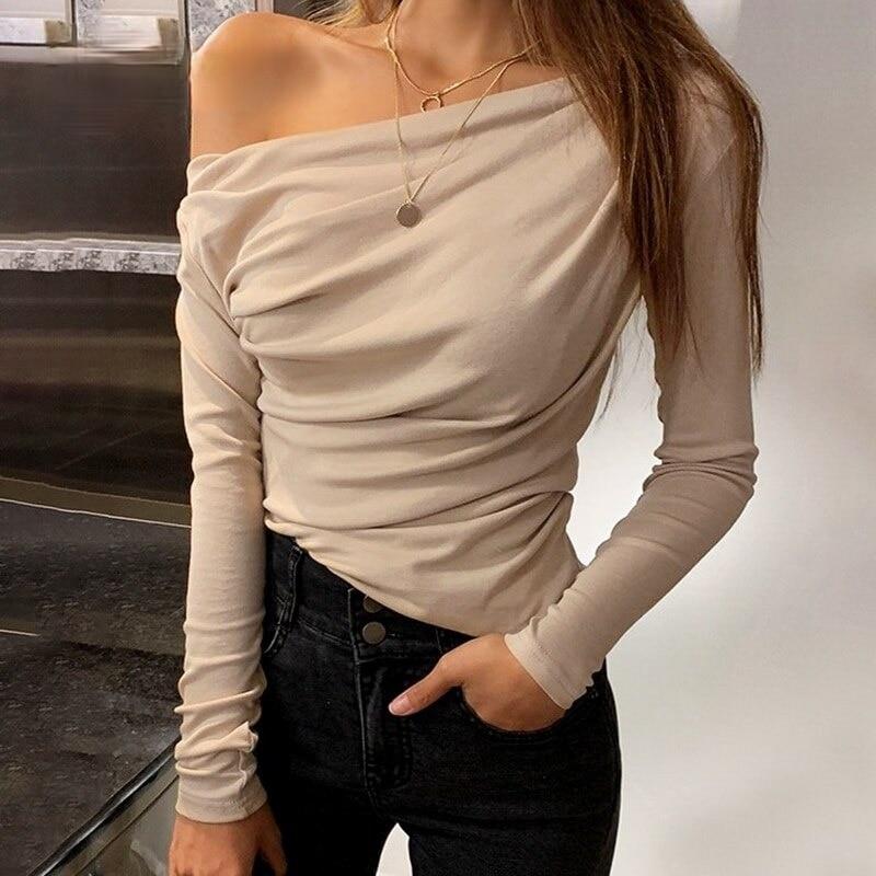 New Casual One Shoulder Women's Top Summer Long Sleeve T-shirt Women's Top Sexy Asymmetric Slim Fit Women's Top Shirt