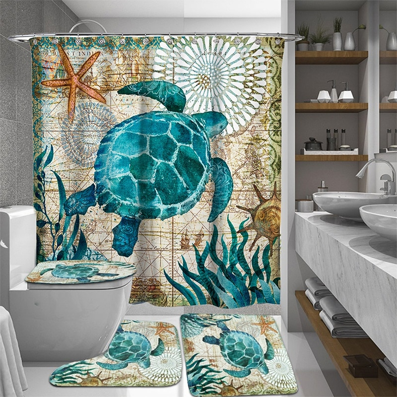 Creative 3pcs/Set Bathroom Bath Curtain Sets Shower Curtain Sea Turtle Printing Durable Waterproof Toilet Cover Mat Non-Slip Rug