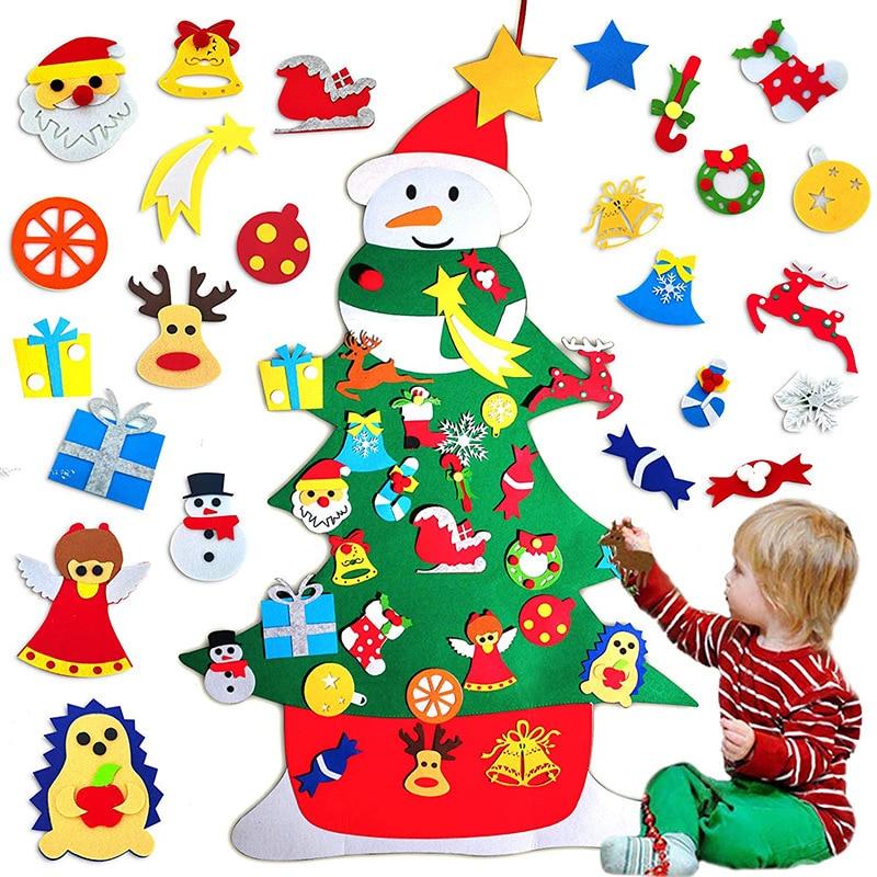 DIY Felt Christmas Tree Christmas Decorations For Home Christmas Tree Decoration With String Light Xmas Gifts New Year Navidad недорого