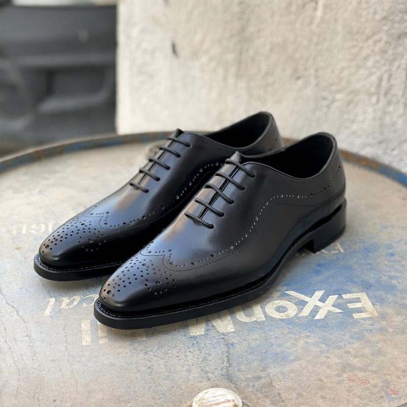 حذاء كلاسيكي كلاسيكي كلاسيكي من Sipriks للرجال مزود بأربطة من جلد العجل مصنوع يدويًا من Goodyear فستان أسود حذاء للأعمال والزفاف للرجال