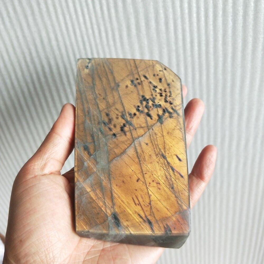397g Piedra púrpura Natural y oro piedra lunar labradorita minerales muestra la cosa real es más hermosa que la imagen