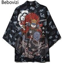 Bebovizi Style japonais chat samouraï Kimono Streetwear hommes femmes Cardigan japon Harajuku Anime Robe Anime vêtements 2020 été