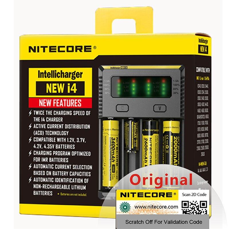100% оригинальное Nitecore Новое I4 Digi зарядное устройство Nitecore зарядное устройство для 26650 18650 18350 16340 14500 10440