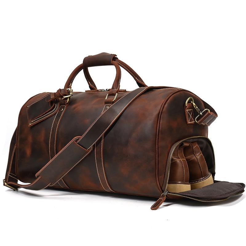 Men's leather travel bag natural leather retro duffel bag first layer cowhide 20 inch handbag leisure gym bag