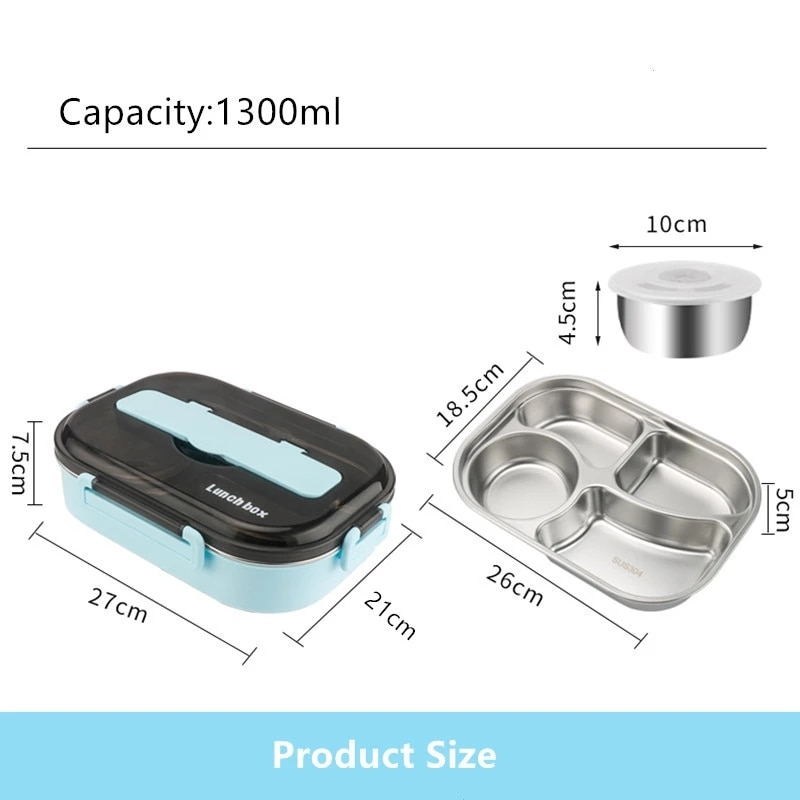 Stainless Steel Lunch Box With Soup Bowl Tableware Keep Warm And Fresh Large-Capacity Food Container Student Bento Picnic  - buy with discount