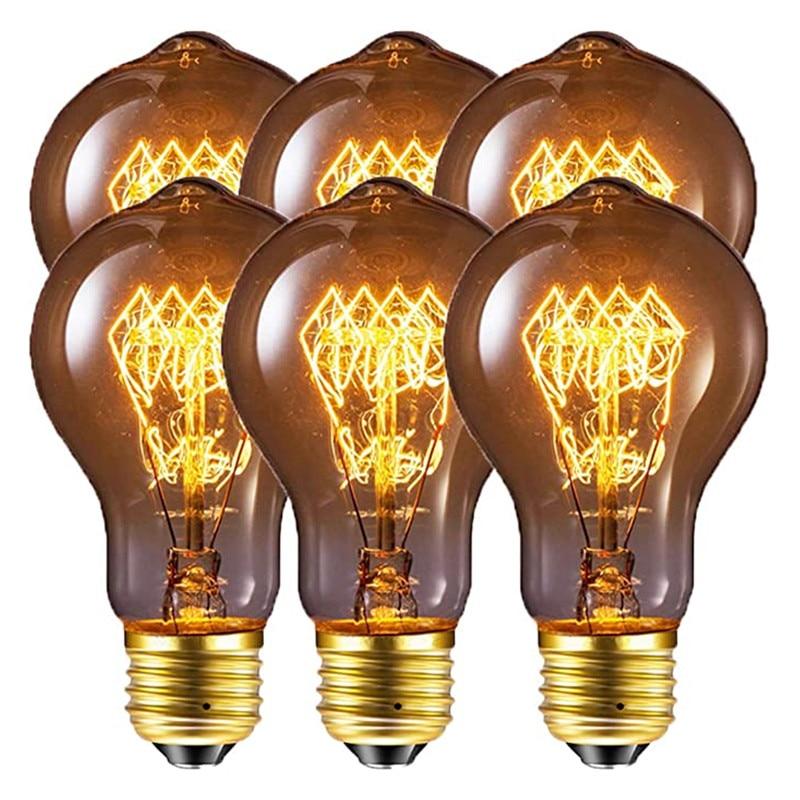 Приглушаемая винтажная лампа накаливания A19, 6 шт., 4 шт., 60 Вт, 40 Вт, E27, A60, теплый белый цвет, лампа накаливания Эдисона, светильник