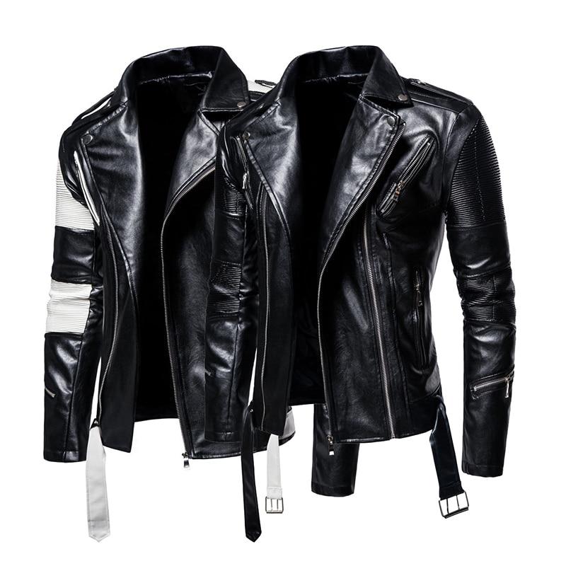 Autumn new large size men's lapel color matching men's motorcycle leather jacket PU leather jacket