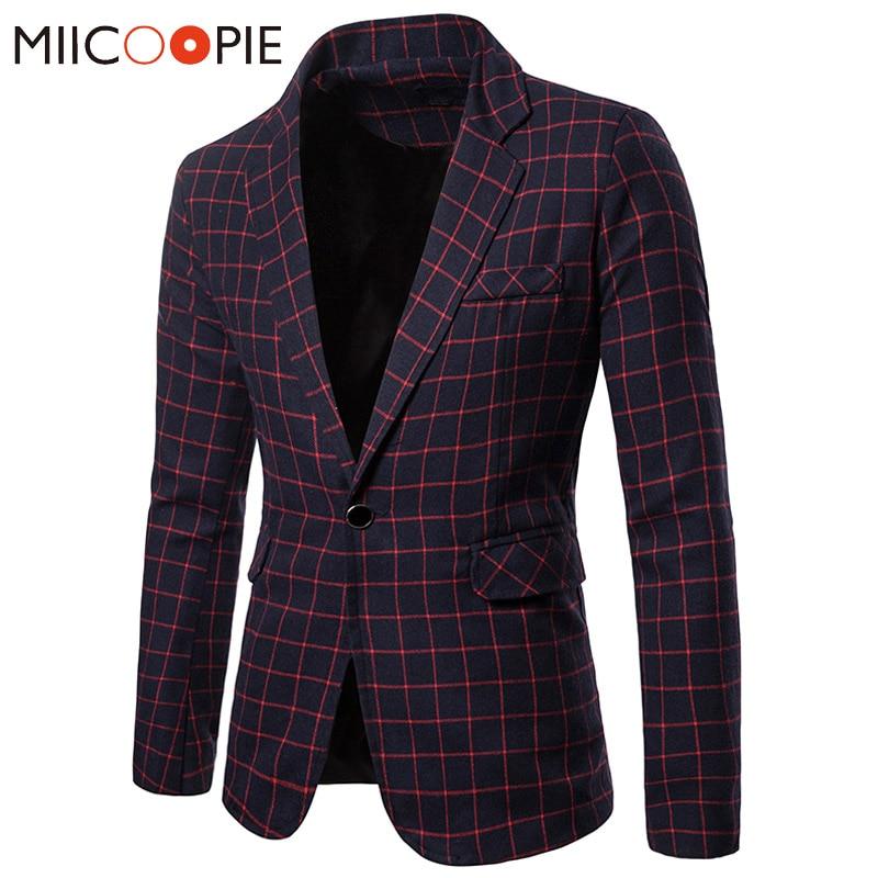 Blazer de talla grande Masculino Otoño Invierno Plaid traje ajustado Blazers hombre ocio negocio solo botón Formal para Hombre Trajes chaqueta