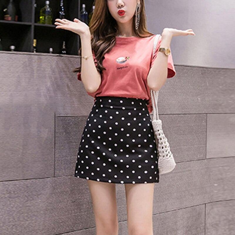Las mujeres Casual Polka Dot una línea de cintura alta ajustado fino ajuste partido fondos Mini falda
