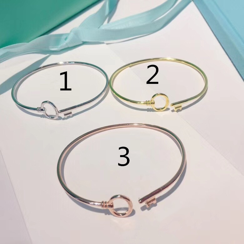 TSHOU121 brazaletes de plata de ley redondos para llaves regalo de Navidad pulseras de la suerte de tres colores