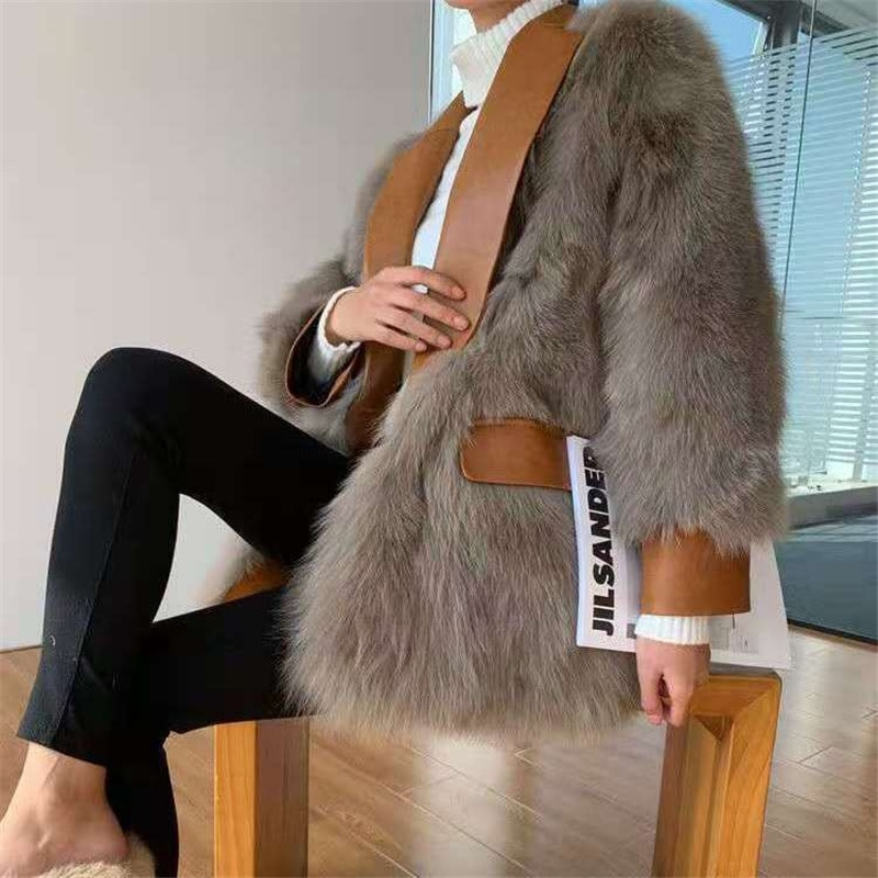 2021 spring and autumn new fur coat female new fox fur fur one mid-length thick warm coat young and thin