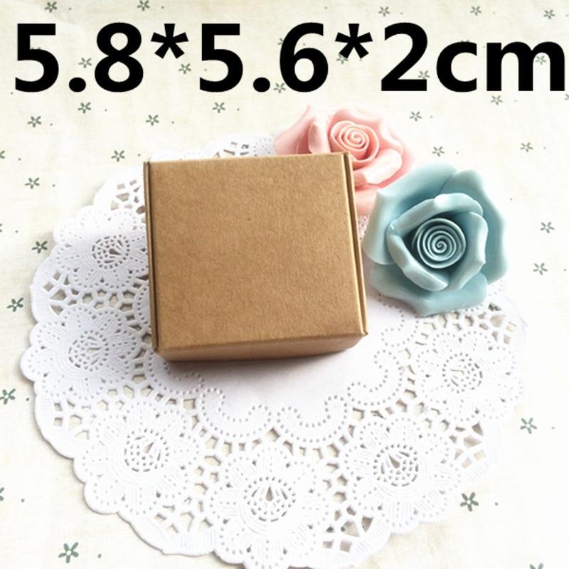 50 Uds 5,8*5,6*2cm caja de embalaje de papel de regalo de jabón de alegría, Caja de Regalo de Papel kraft marrón, caja de papel para dulces de boda