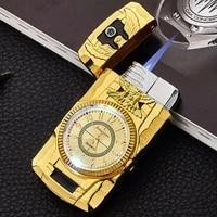 led gold watch jet lighter torch turbo gas lighter windproof cigar cigarette metal lighter inflated gasoline butane men gift