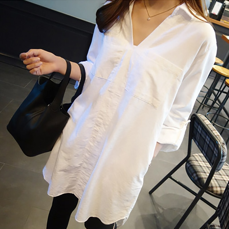 Women Harajuku Shirt White Long Sleeve Loose Casual Loose Spring Autumn Blouse Tops Turn-Down Collar Solid Color Long Shirts