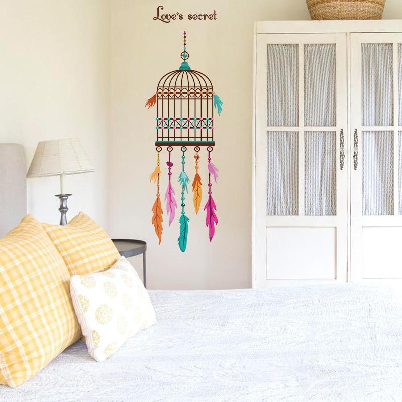 Pegatinas de pared con hermosas plumas y jaula de pájaros para tienda, decoración para la Oficina y el hogar, Mural creativo de arte Diy, pegatinas de pared de Pvc