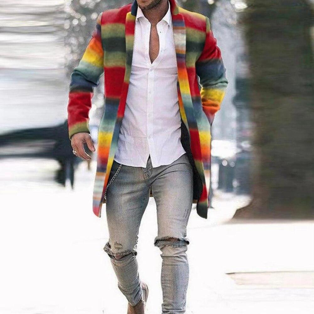 معطف رجالي من Lugentolo بخطوط قوس قزح وياقة واحدة بصدر واحد وياقة مقلوبة وأكمام طويلة موضة خريف جديدة معطف رجالي