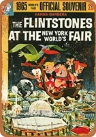 12x8 inches metal vintage funny tin sign flintstones at the 1965 worlds fair