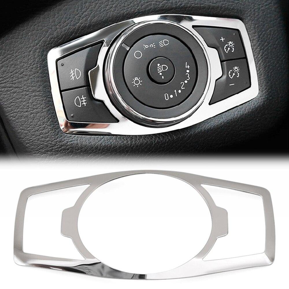 Edelstahl scheinwerfer schalter abdeckung aufkleber Für Ford focus 3 MK3 MK4 KUGA Flucht mustang 2015 Mondeo Fusion 2013- 2016