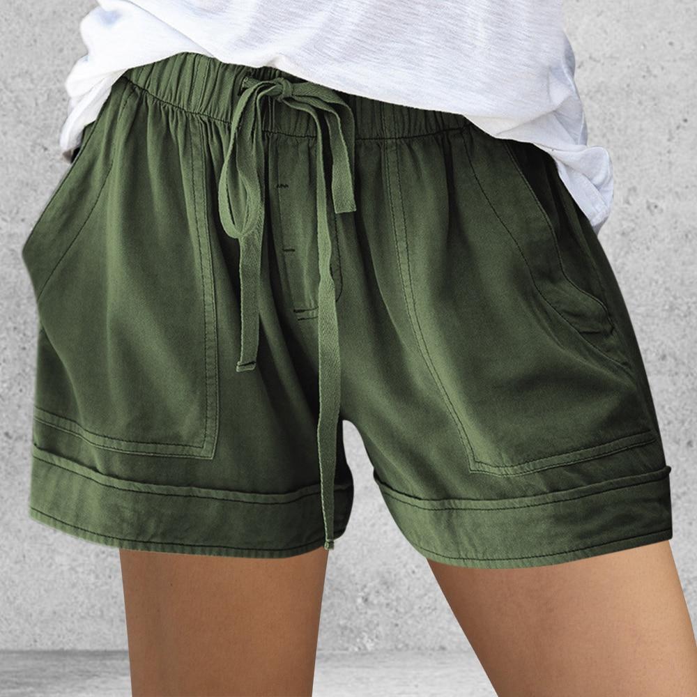 Verão curto solto corda laço curto esporte shorts casual cintura elástica algodão linho shorts bolso