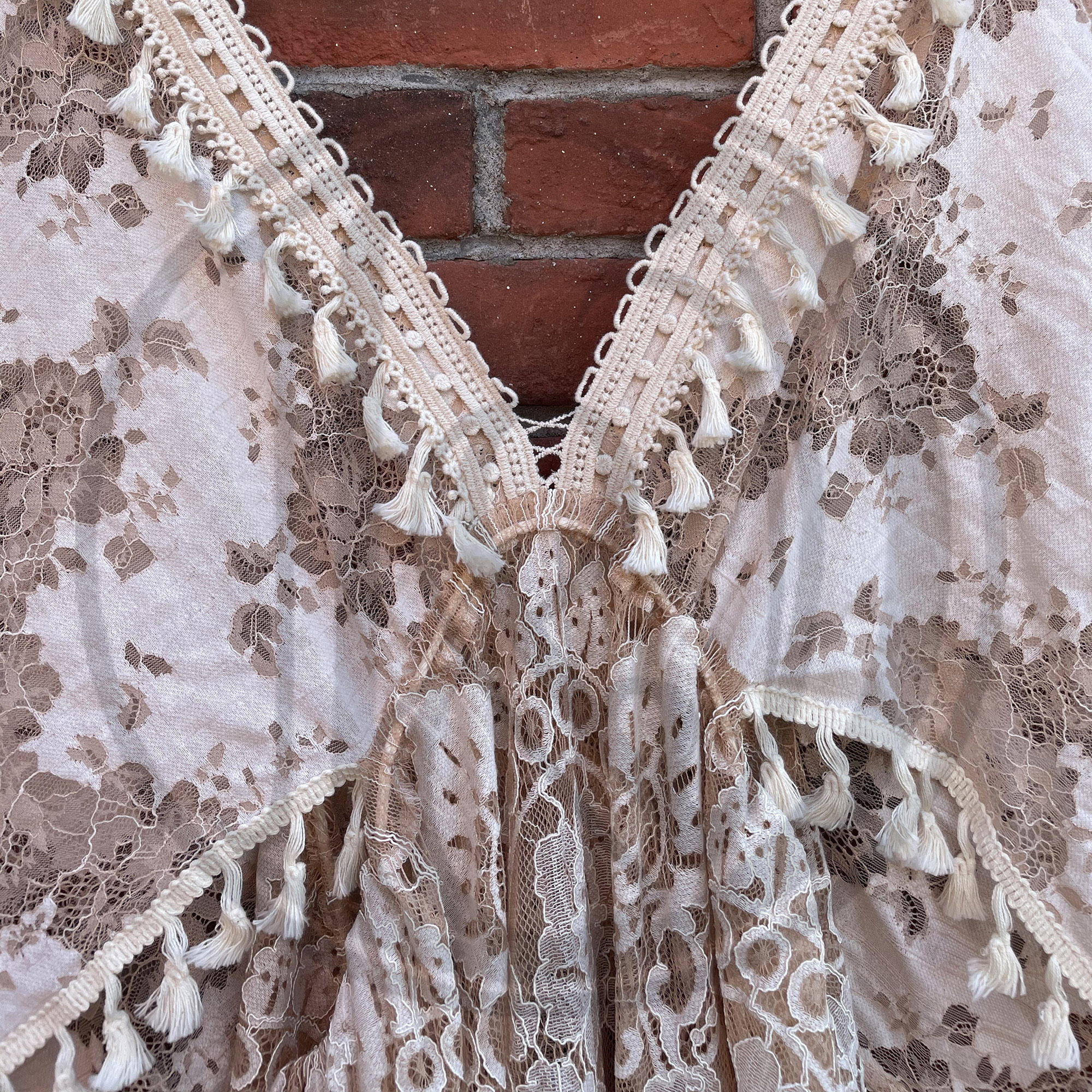 Khaki Boho Lace Photo Shoot Pregnant Robe with Tassles  Maternity Dress Evening Party Costume for Women Photography Accessories enlarge