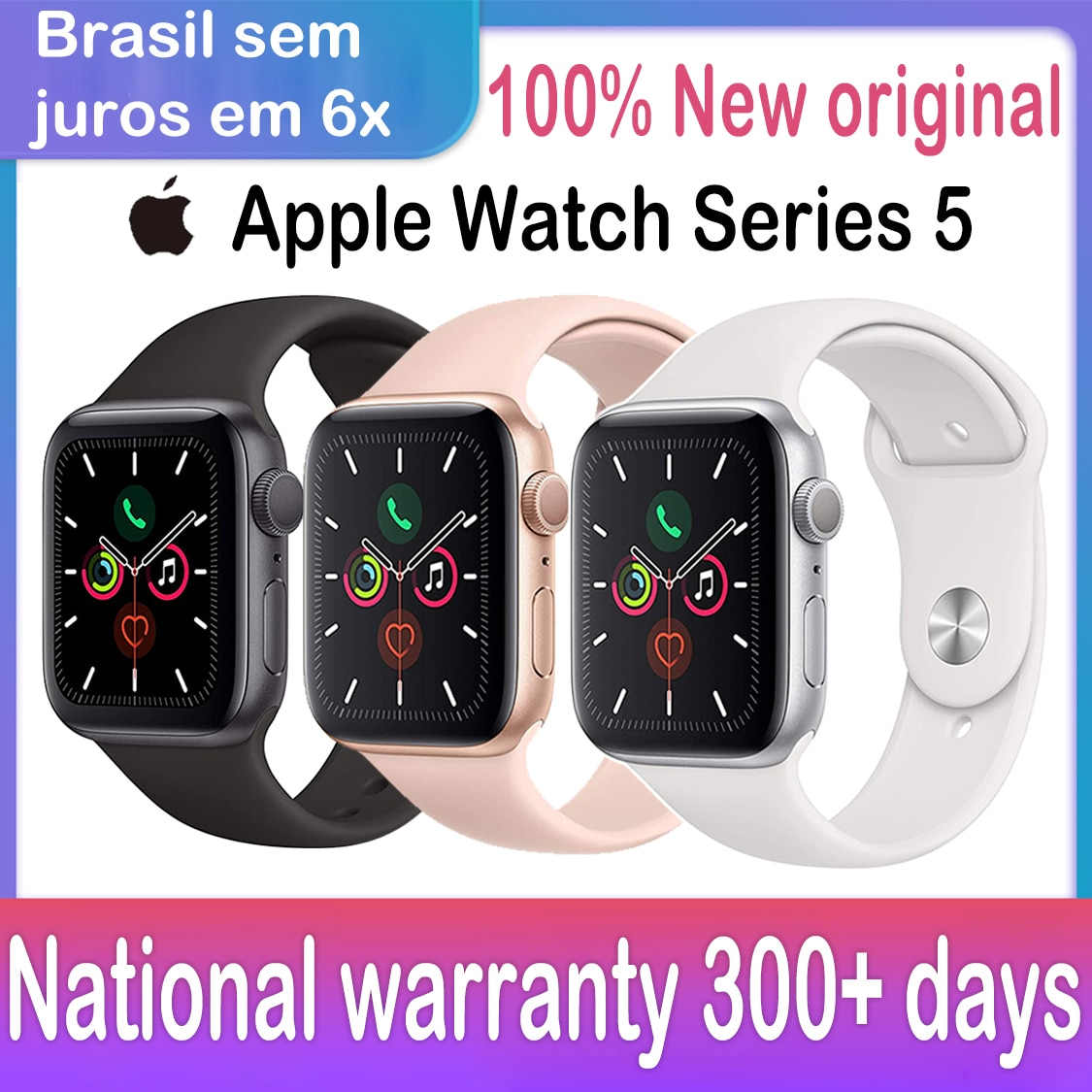 Get New Original Apple Watch Series 5 GPS Cellular iwatch 40MM/44MM Aluminum Case   Sport Band  Smart watch