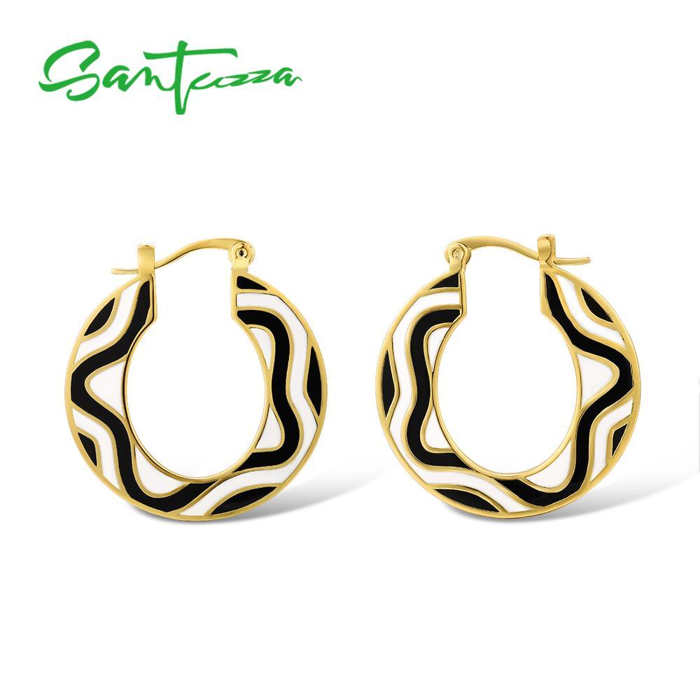 Pendientes de latón para mujer de Color amarillo, dorado, blanco y negro, hechos a mano, pendientes geométricos esmaltados, joyería de moda para fiestas