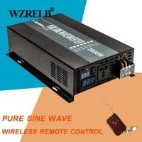 2000w car power inverter 12v 220v pure sine wave solar inverter voltage regulator 24v48v dc to 120v230v240v ac remote control