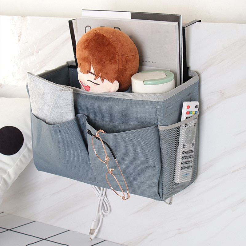 1Pcs Oxford Cloth Waterproof Durable Hook Bag Cosmetics Magazine Stationery Dust Storage Bag Home Storage