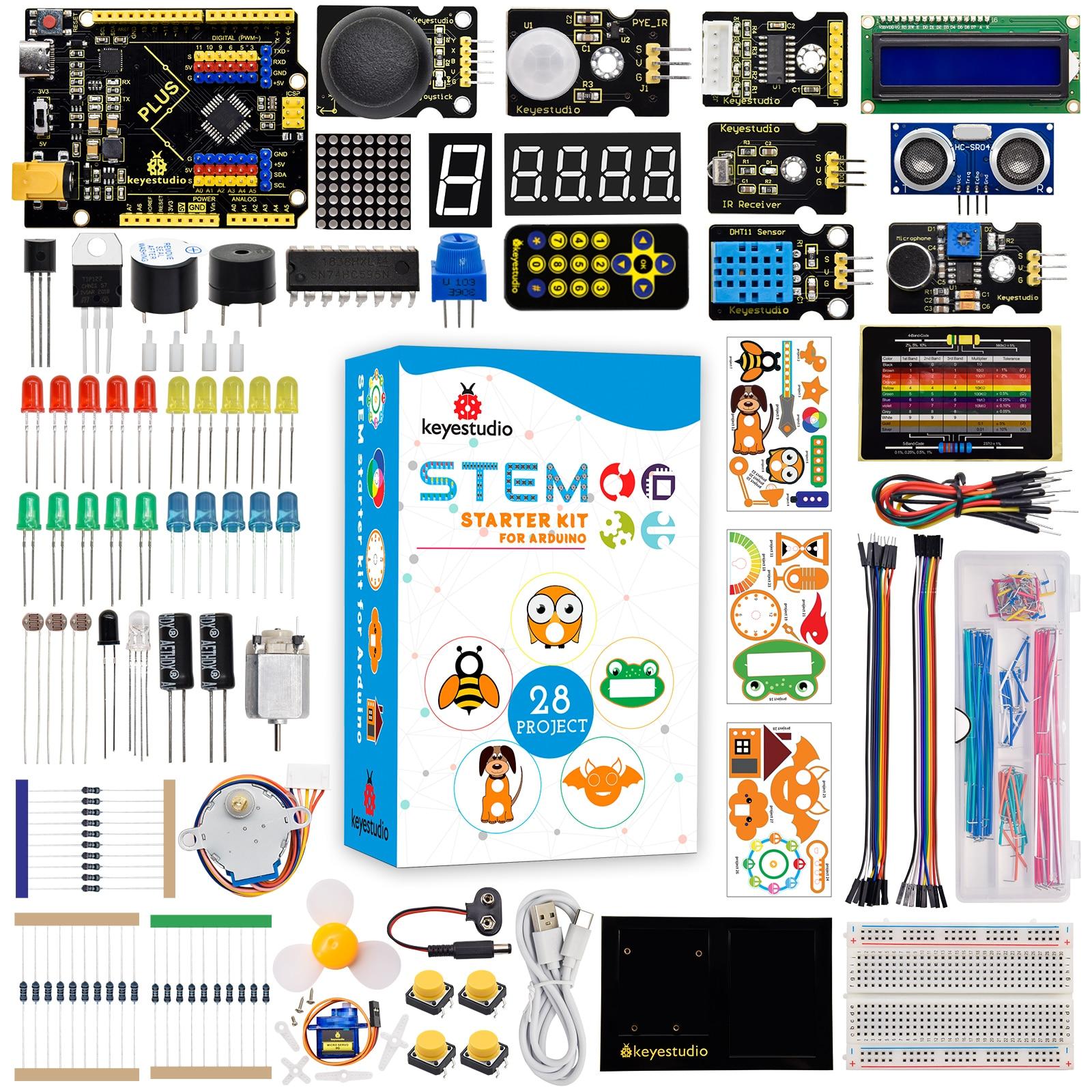 Keyestudio STEM  Plus Board Starter Kit for Arduino Starter Kit Full Set Complete Electronic DIY Projects Programming Kit brock craft arduino projects for dummies