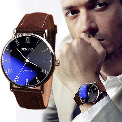 2020 Fashion Men's Watch Men Roman Numerals Blu-Ray Faux Leather Band Quartz Analog Business Men's W