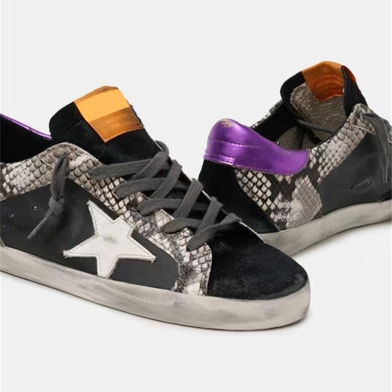 Autumn Product Parent-child Shoes Snake Print First Layer Leather Stitching Distressed Children's Casual Small Dirty Shoes QZ122 enlarge