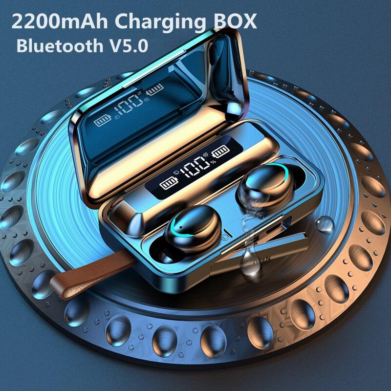 TWS Bluetooth 5.0 Earphones Wireless Headphone 2200mAh Charging Box Stereo Sports Waterproof Earhook