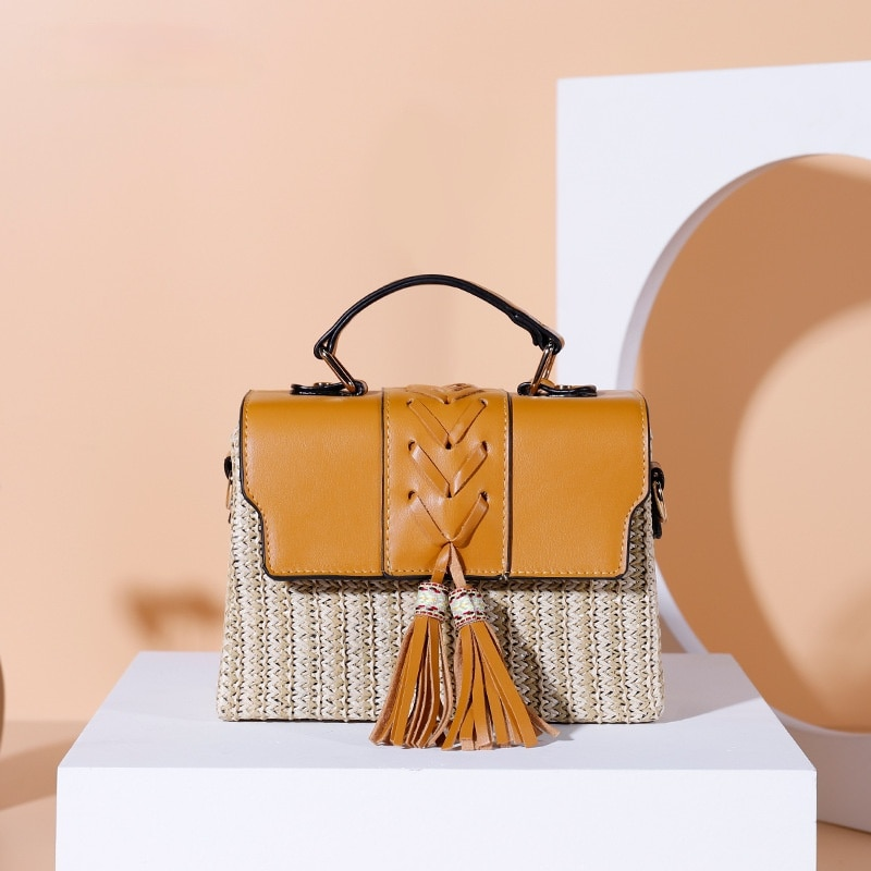 Fashion Box Tassel Straw Bags Rattan Women Handbags Wicker Woven Leather Shoulder Crossbody Bag Summer Beach Small Purses 2021