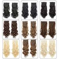 clip in hair extensions 613 black and blonde synthetic wavy 22 inch long 16 clips on for women heat resistant fiber hairpieces