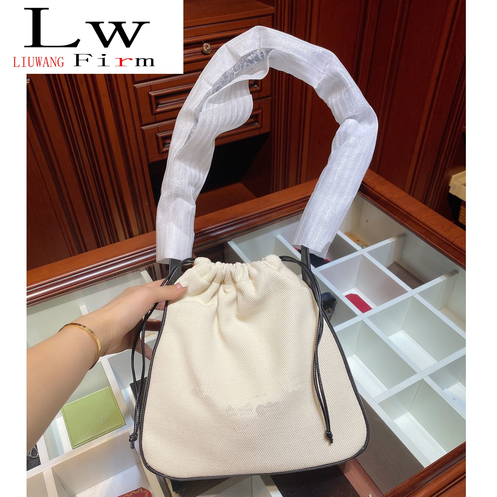 With logo Casual one shoulder Portable stitching drawstring canvas Casual simplicity One shoulder Drawstring canvas Bucket bag