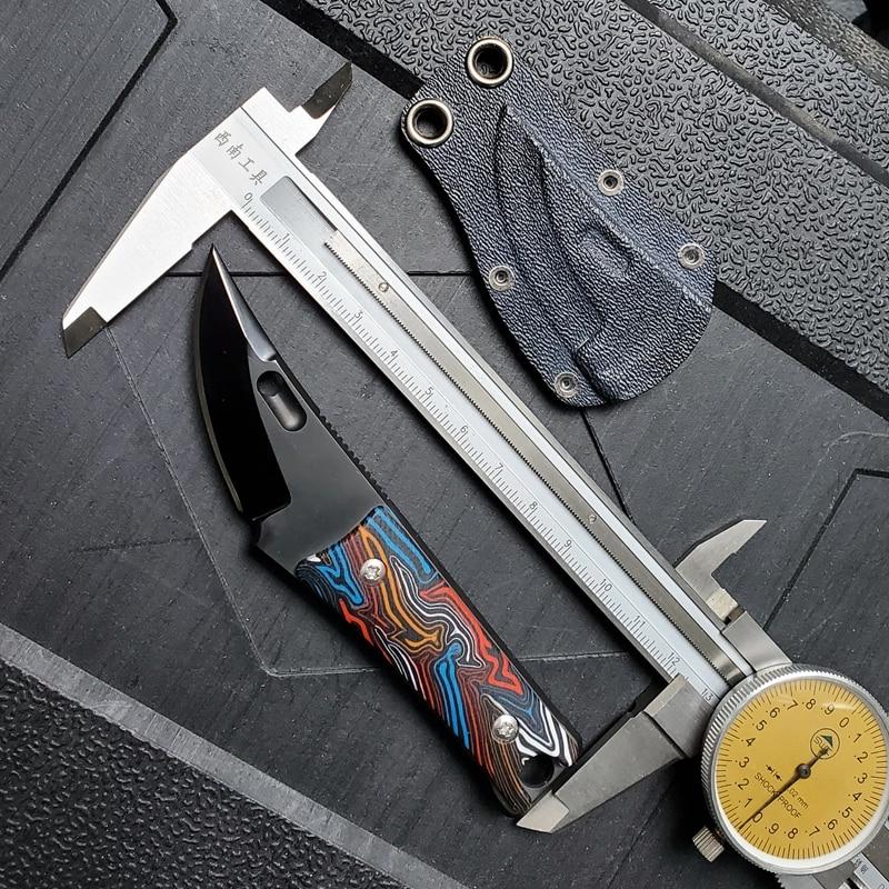 ماك ووكر سكين صغير شفرة مثبتة سكين مستقيم 12C27N شفرة الصحراء الحديد الخشب أو G10 مقبض التخييم الصيد أداة