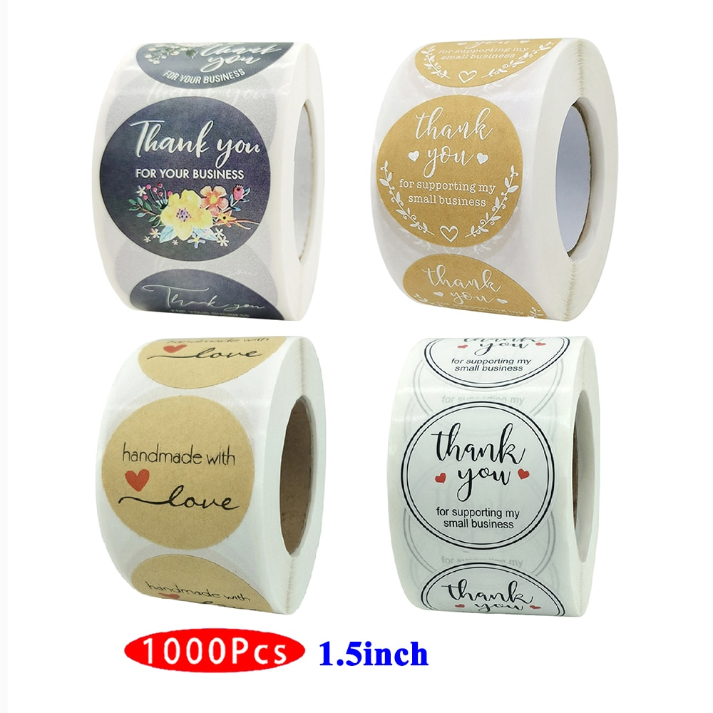 1.5inch 1000Pc Cute Thank You Supporting My Small Business Stickers Kawaii Aesthetic Scrapbooking Seal Label Gift Supply Package